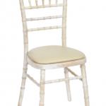 Lime wash Chiavari Chair with cream seat cushion  £3.20