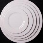 "Executive white 10 1/2"", 10"",8"",6"" serving plates .18p each"