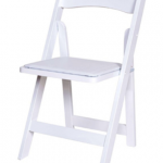 White folding chairs with builtin white cushion very versatile £3.20